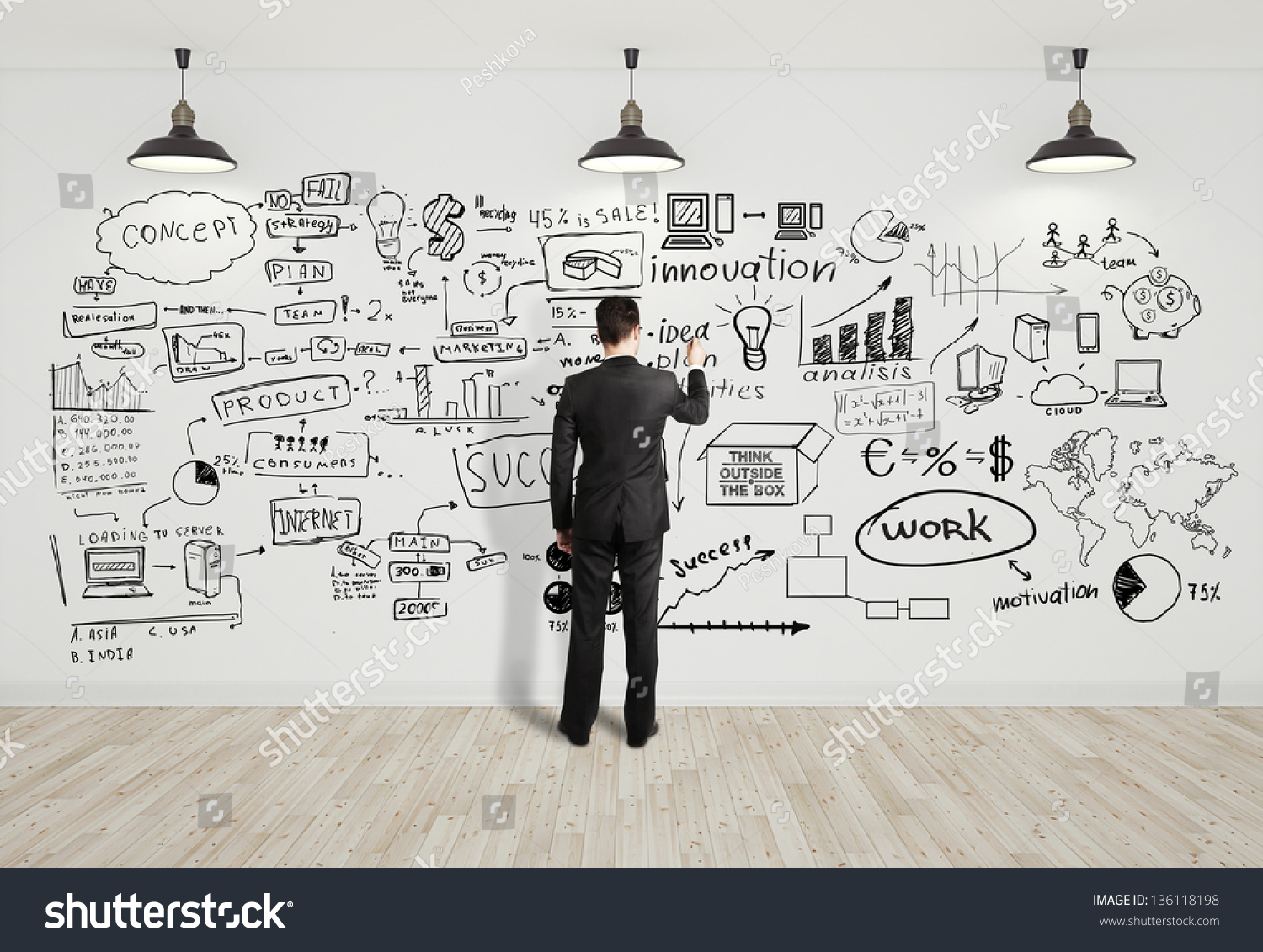 businessman drawing business concept on white stock photo