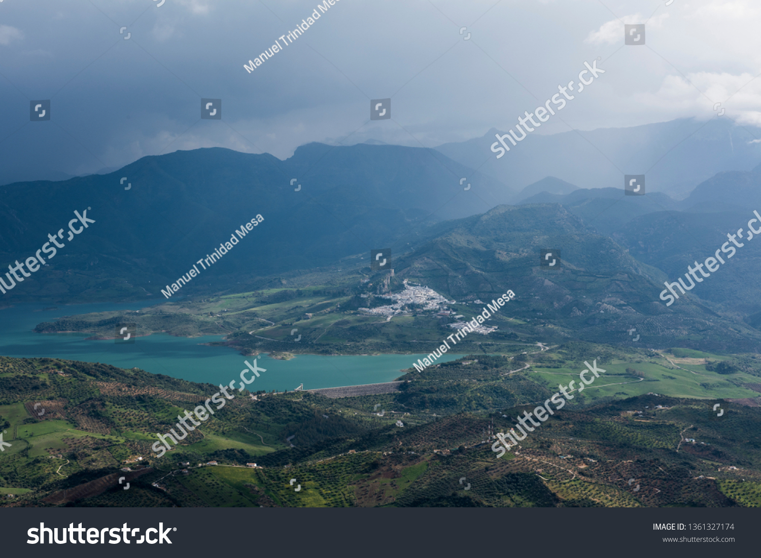 A cloudy and rainy day in Zahara de la Sierra, Spanish municipality of the province of Cádiz, in the hills of Andalusia