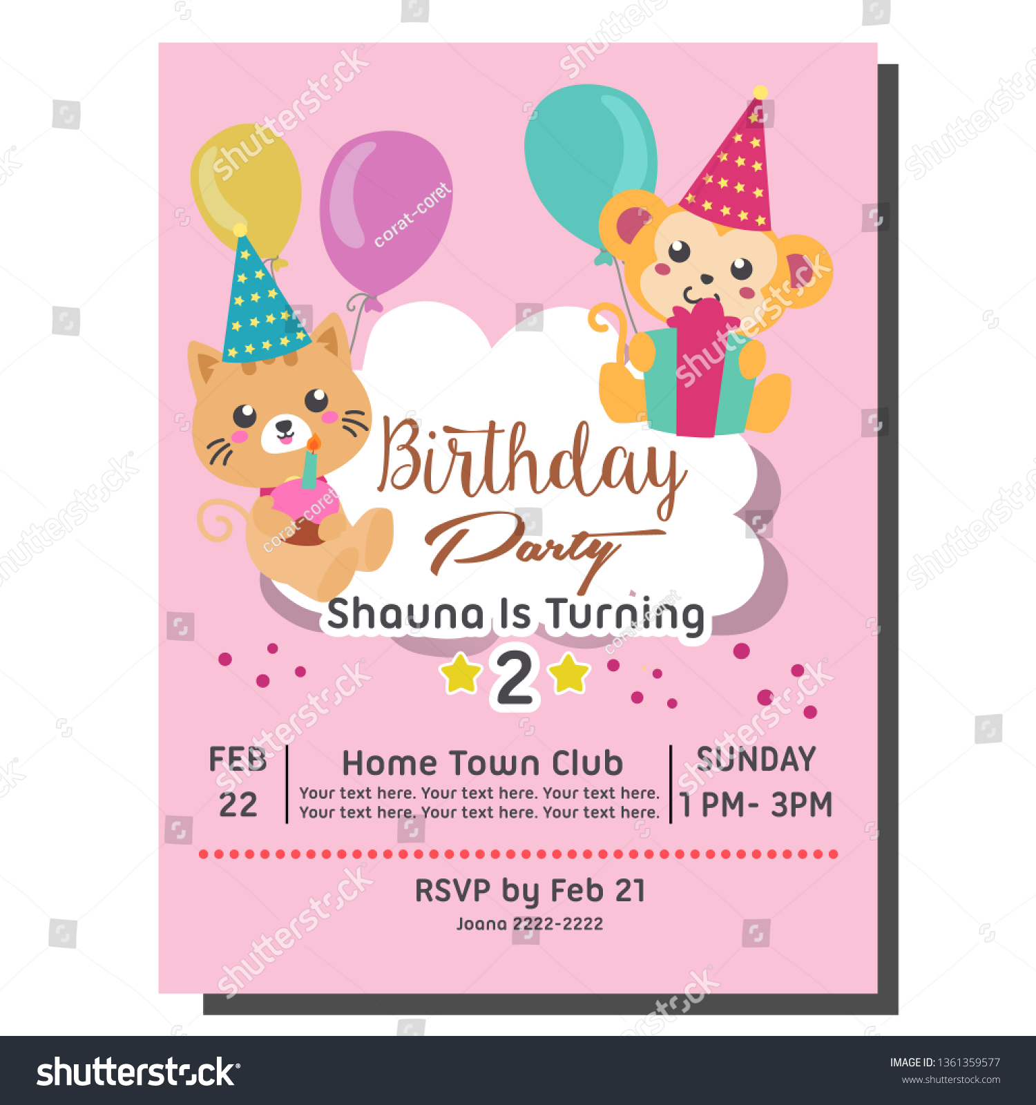 2nd Birthday Party Invitation Card Template Stock Vector