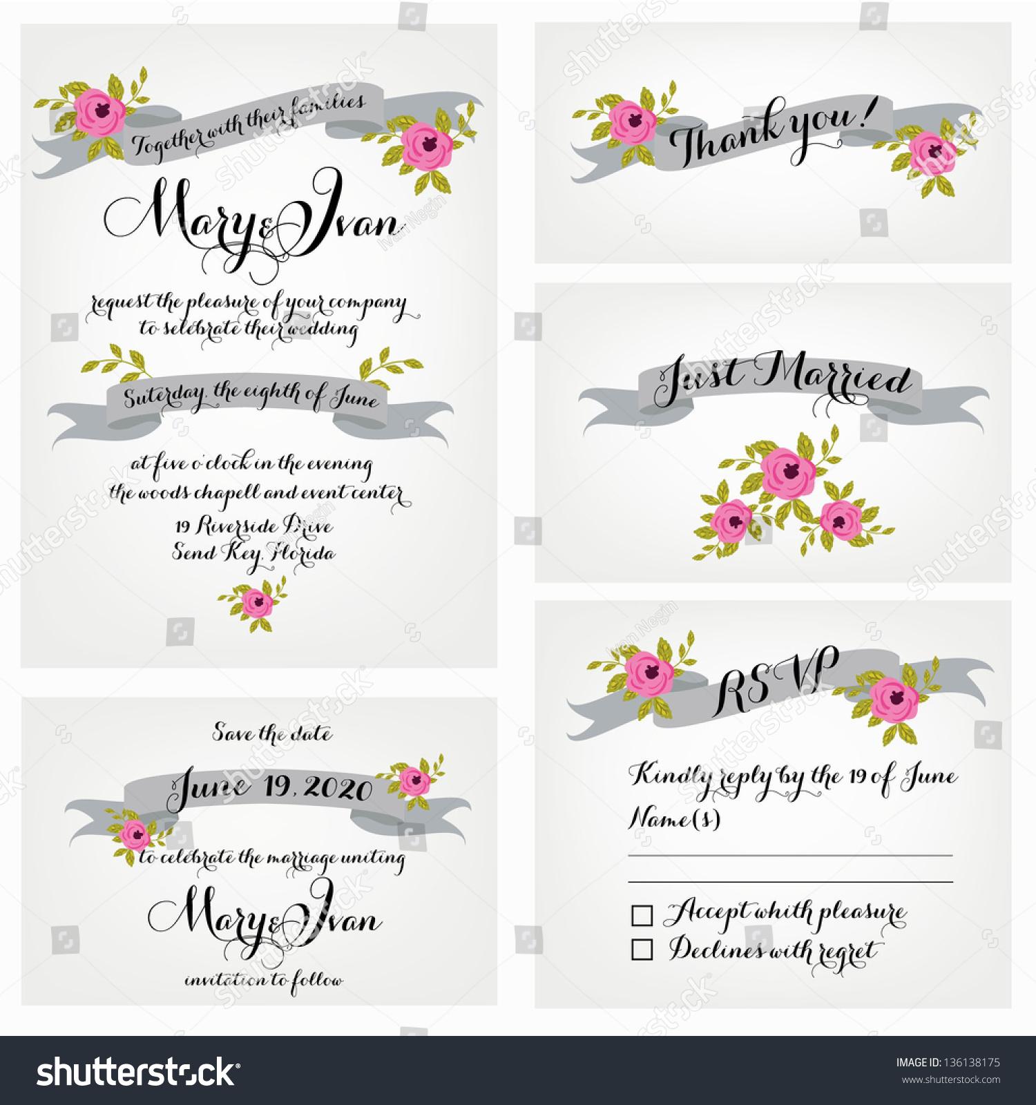 Wedding Invitation Thank You Card Save Vector 136138175 – Wedding Stationery Thank You Cards