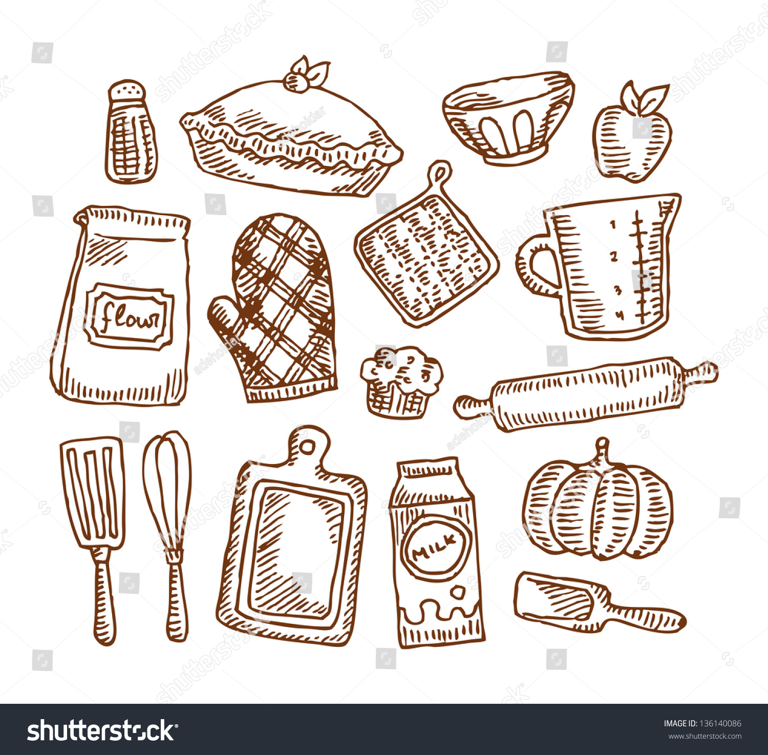 Vintage Baking Supplies Stock Vector Royalty Free 136140086