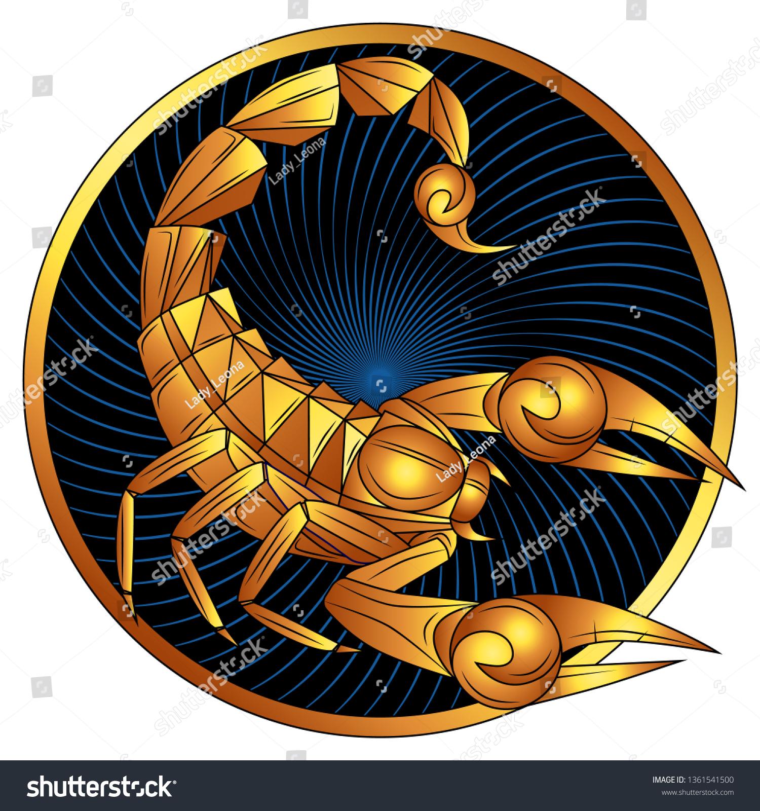Dibujo De Un Escorpion Dorado vector de stock (libre de regalías) sobre signo de oro