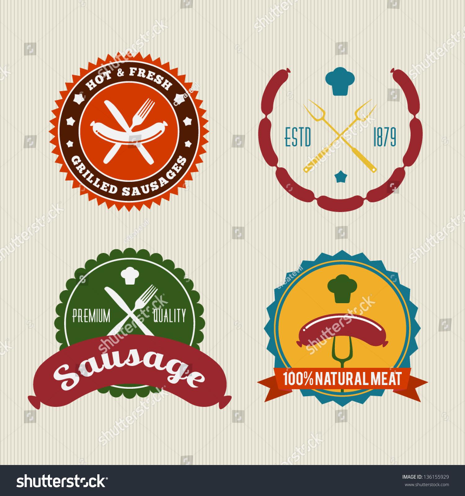 Sausage Badges Vintage Vector Set Stock Vektorgrafik Lizenzfrei