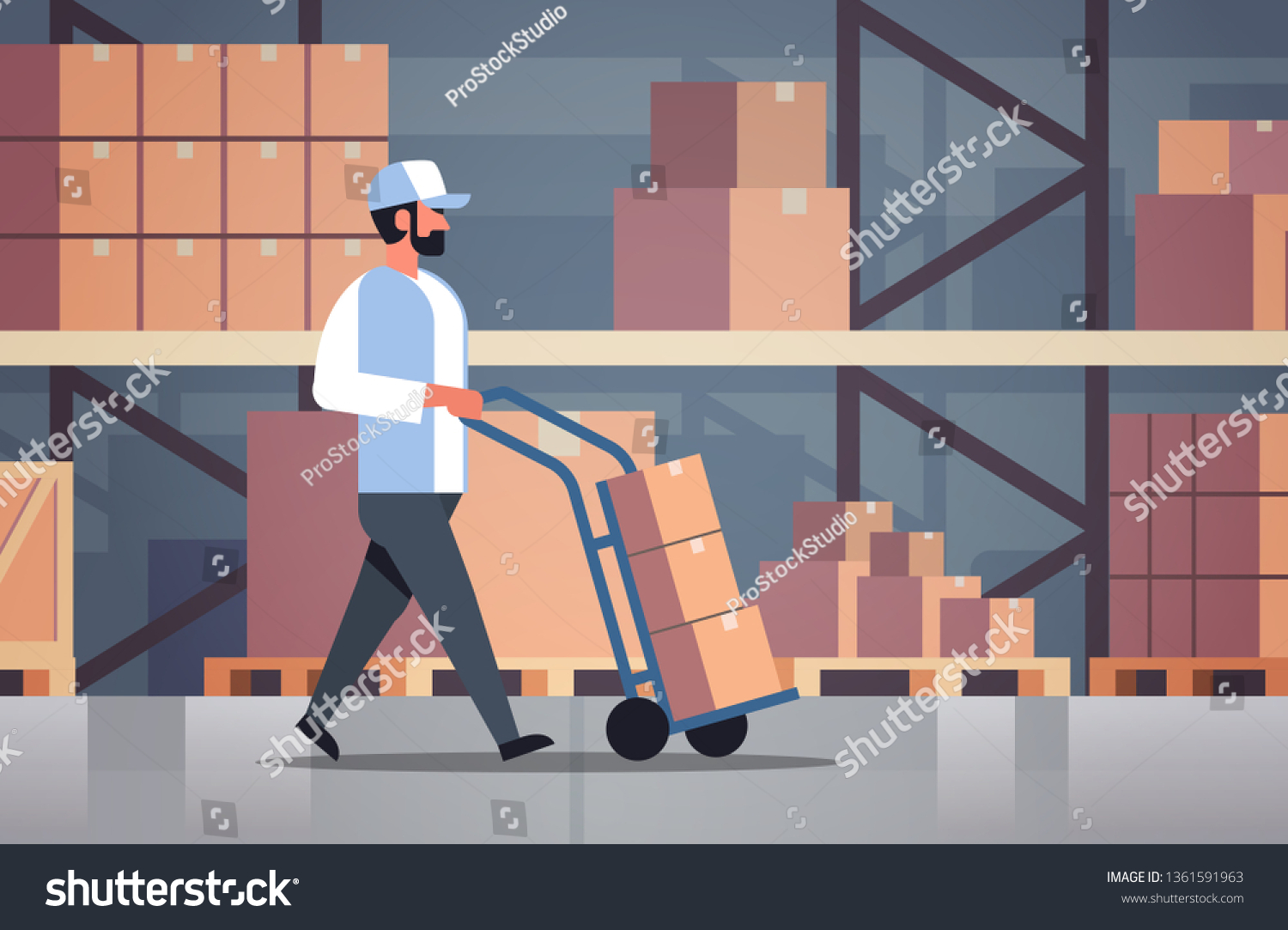 Delivery Man Rolling Cardboard Box Cargo Stock Vector (Royalty Free