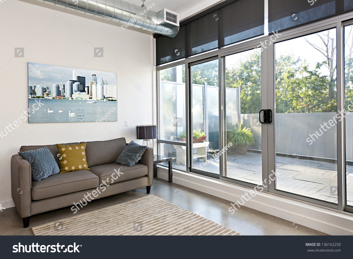 Living room with sliding glass door to balcony. Living Room Sliding Glass Door Balcony Stock Photo 136162250