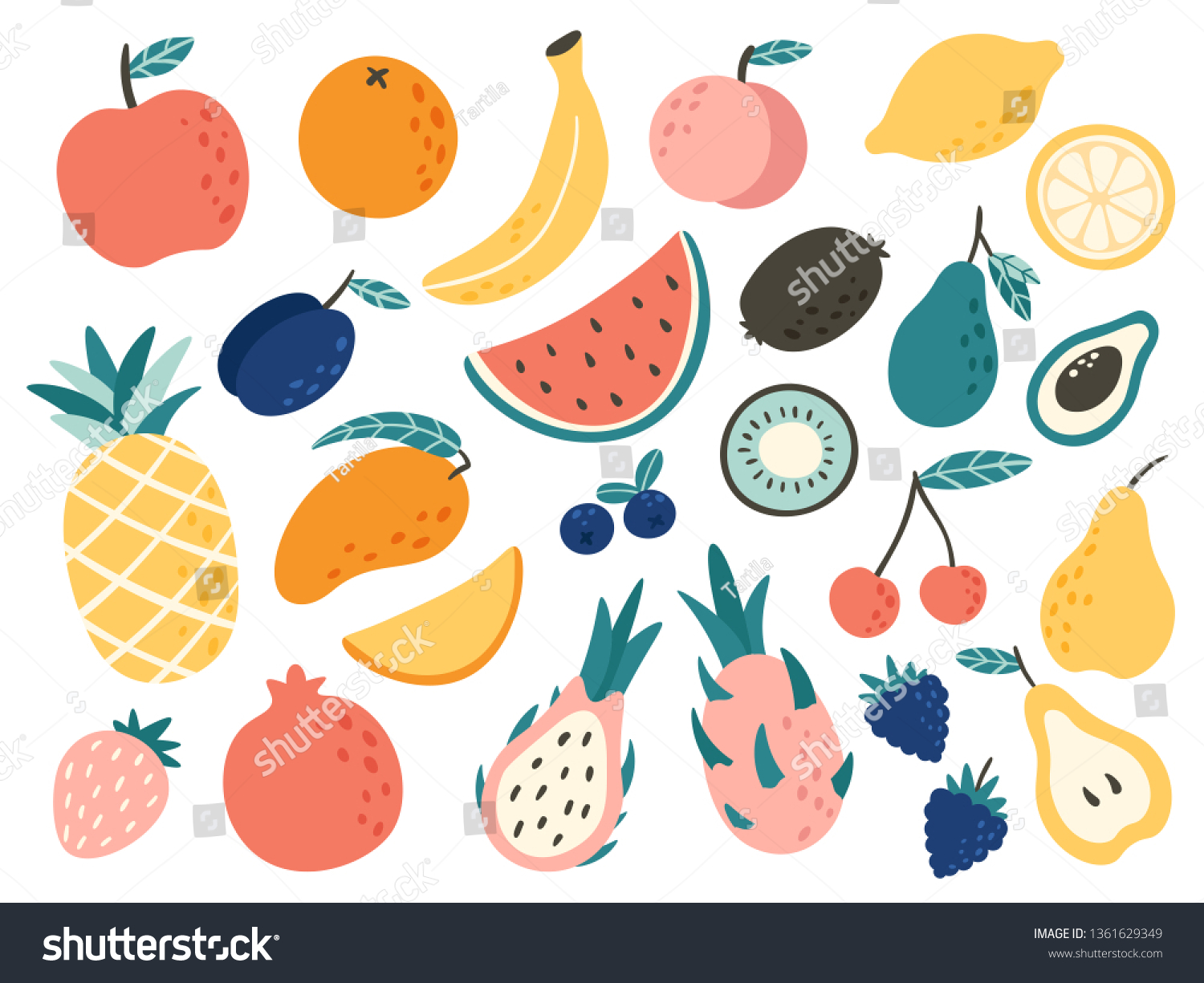 Doodle fruits. Natural tropical fruit, doodles citrus orange and vitamin lemon. Vegan kitchen apple hand drawn, organic fruits or vegetarian food. Vector isolated icons illustration set #1361629349