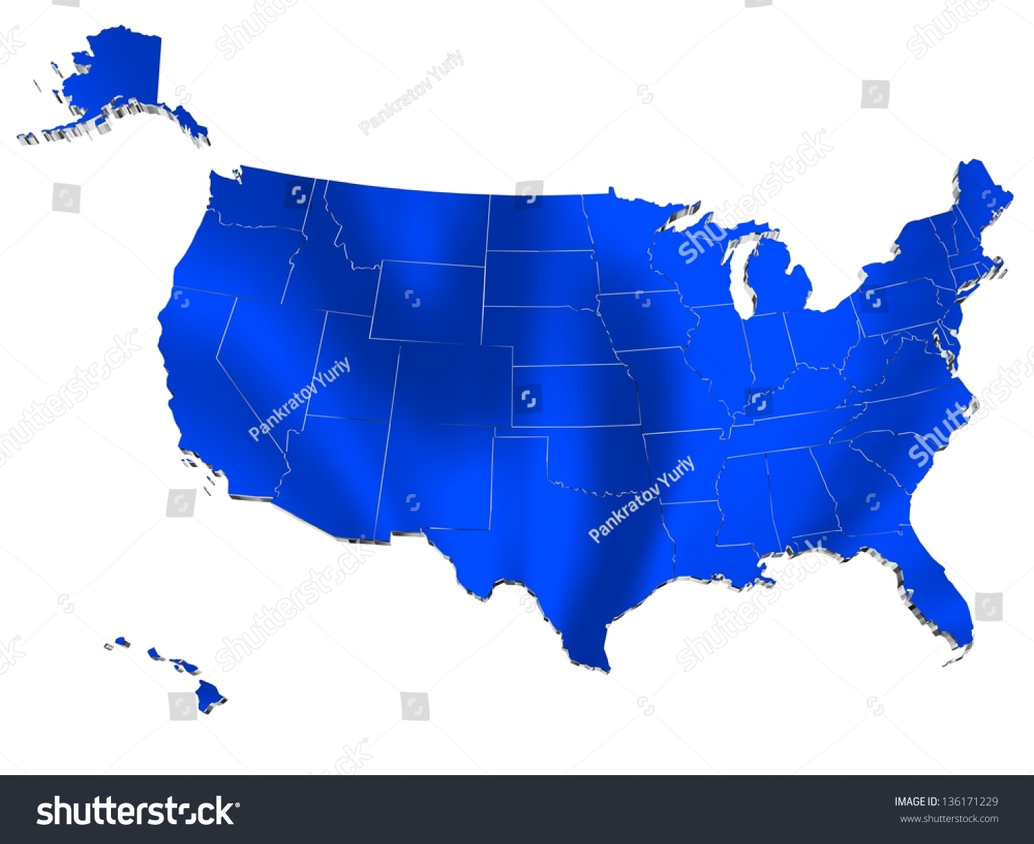 Map Usa D Render Include Hawaii Stock Illustration - Map usa hawaii