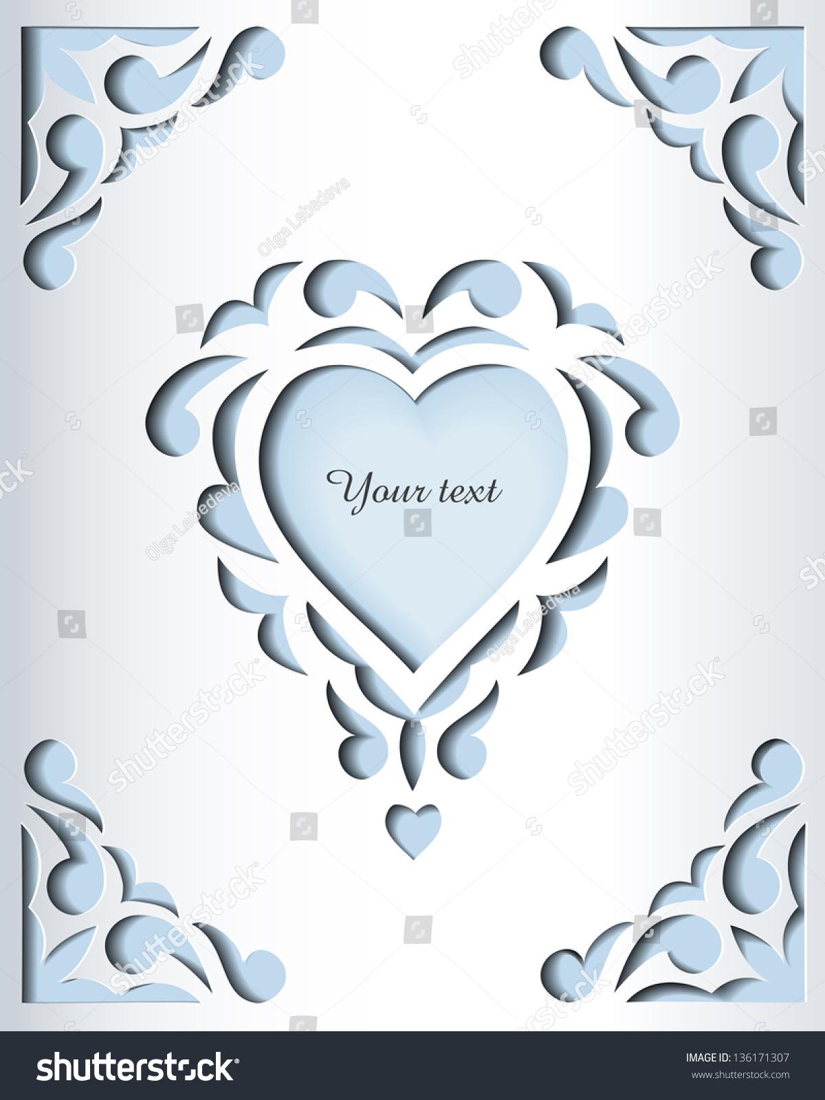Paper Cutout Card Heart Template Frame Stock Vector 136171307 ...