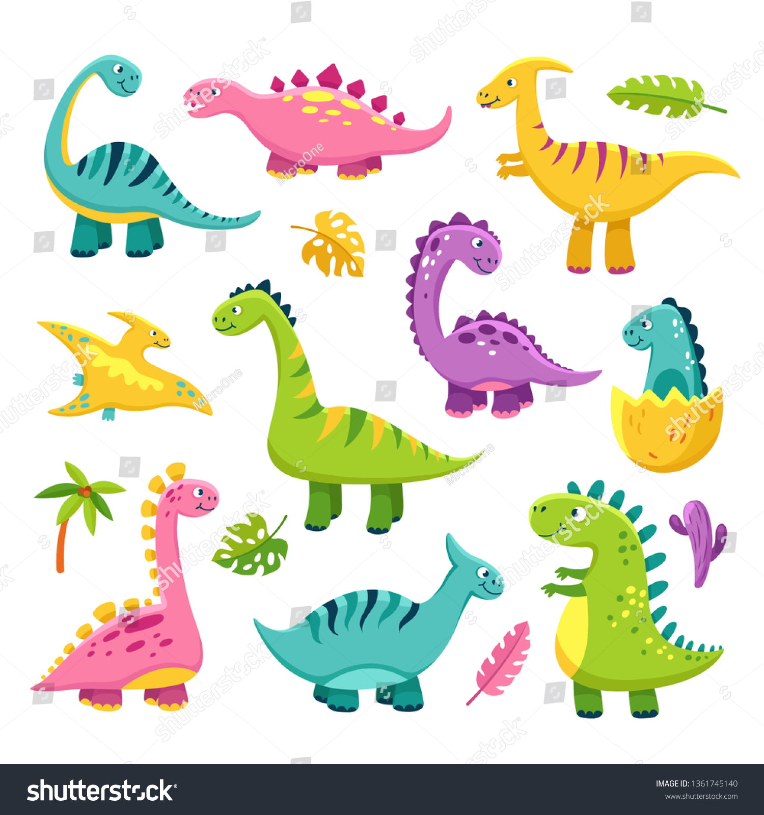 Cartoon Dinosaur Cartoon Cute Baby Dino Stock Vector Royalty Free 1361745140