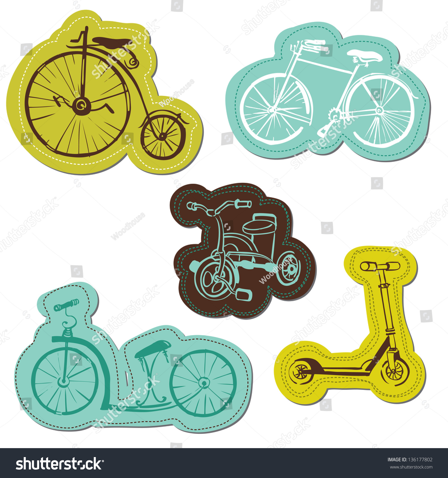 Bike sticker design images - Set Of Baby Bike Stickers For Design And Scrapbook In Vector