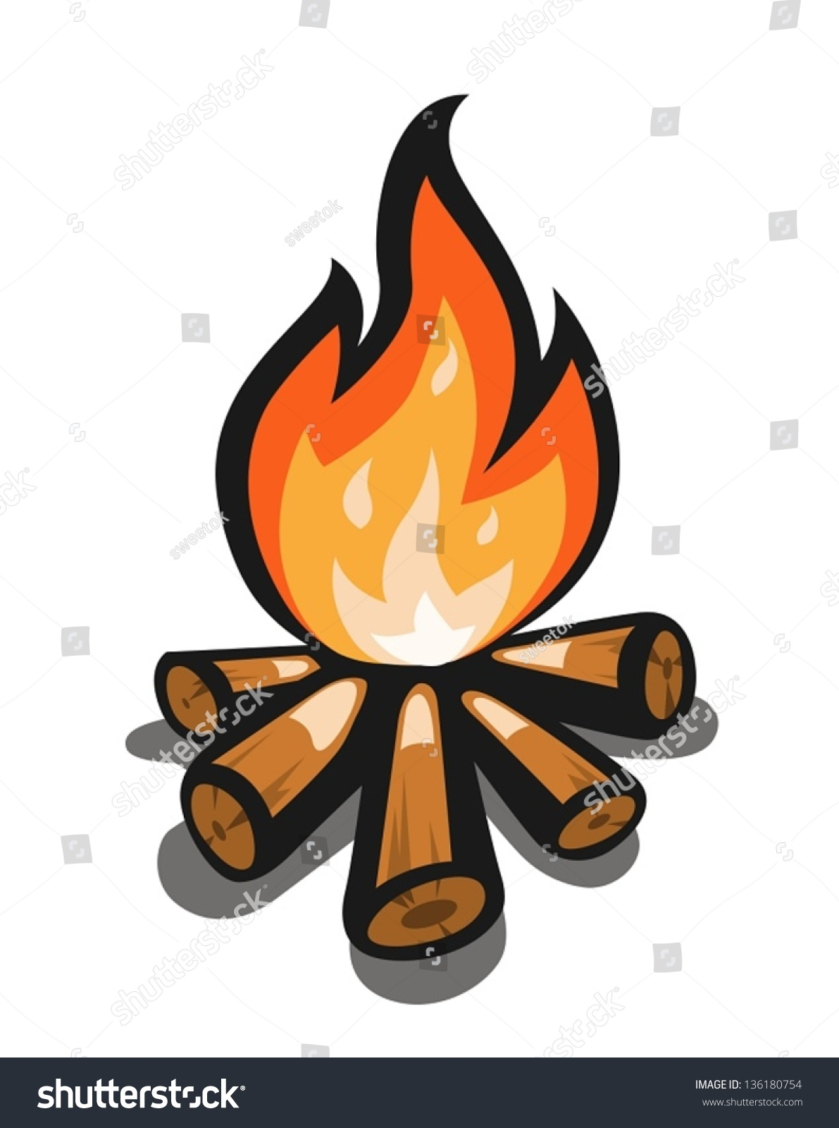 Campfire Vector Illustration Isolated White Stock Vector