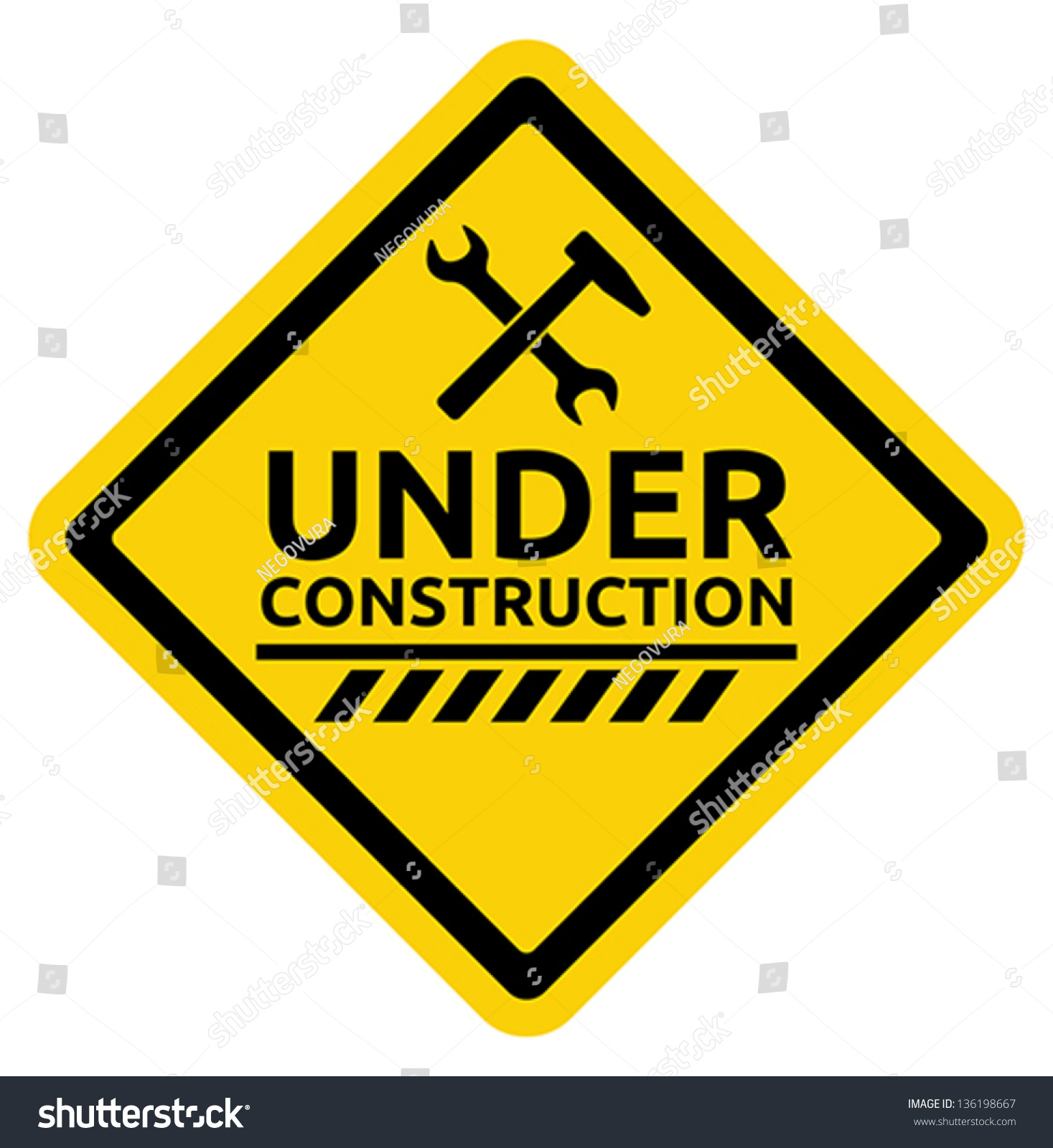 Under Construction Road Sign Stock Vector 136198667
