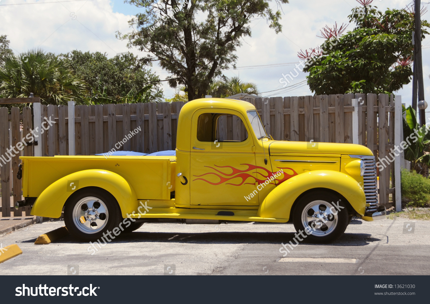 small pickup truck bright yellow color stock photo 13621030 shutterstock. Black Bedroom Furniture Sets. Home Design Ideas