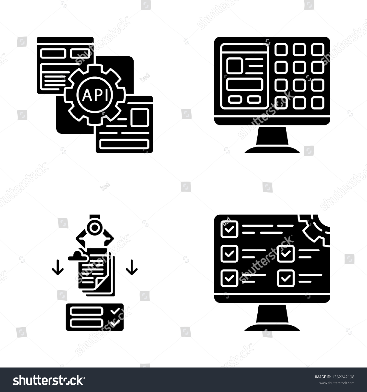 Rpa Glyph Icons Set Robotic Process Stock Vector (Royalty Free