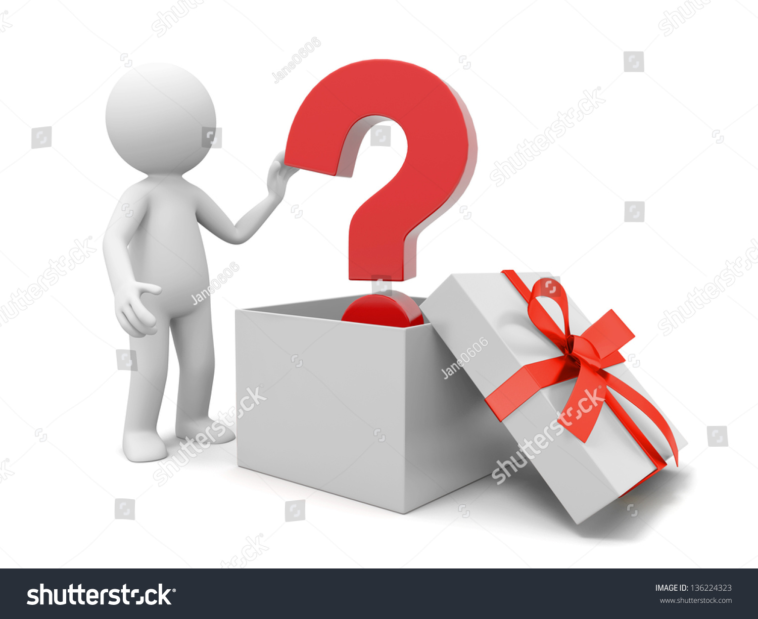 3d person with magnifying glass and question mark stock images image - A 3d Person Taking A Question Mark From A Gift Box