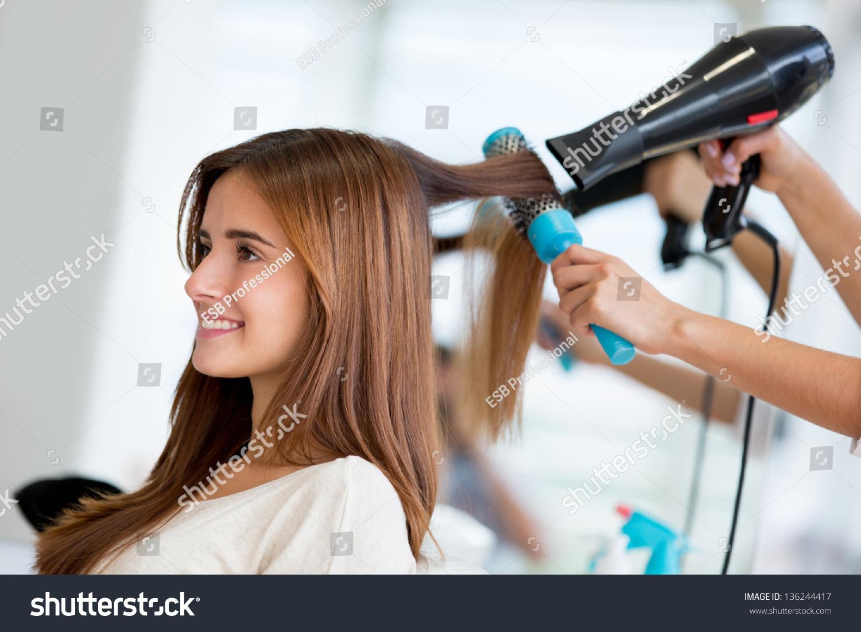 Portrait Happy Woman Hair Salon Stock Photo 136244417