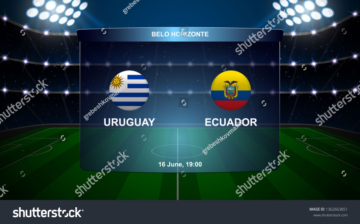 Uruguay Vs Ecuador Football Scoreboard Broadcast Stock Vector Royalty Free 1362663851