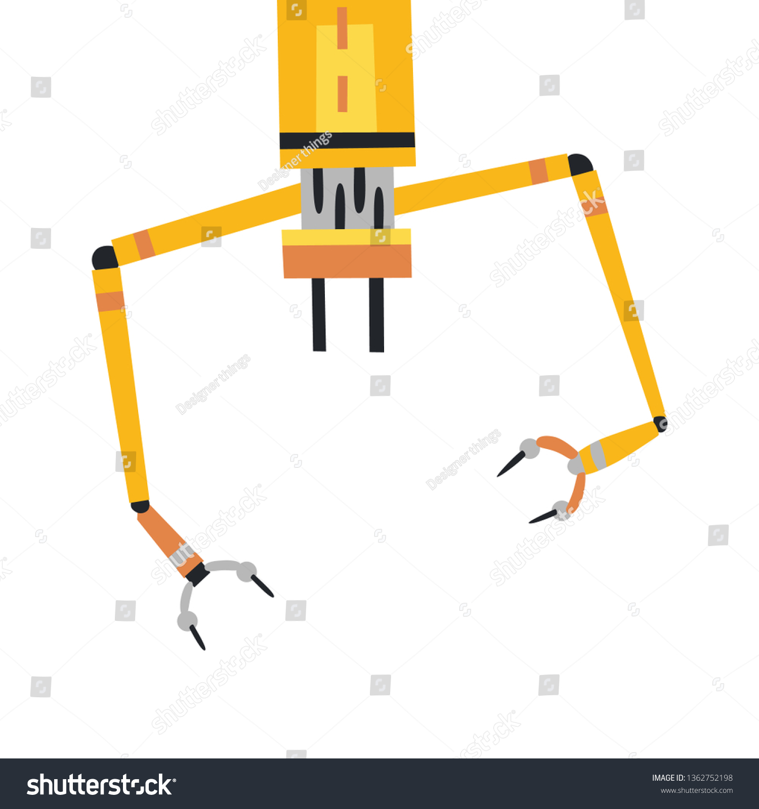 Industrial Mechanical Robot Arm Icon Yellow Stock