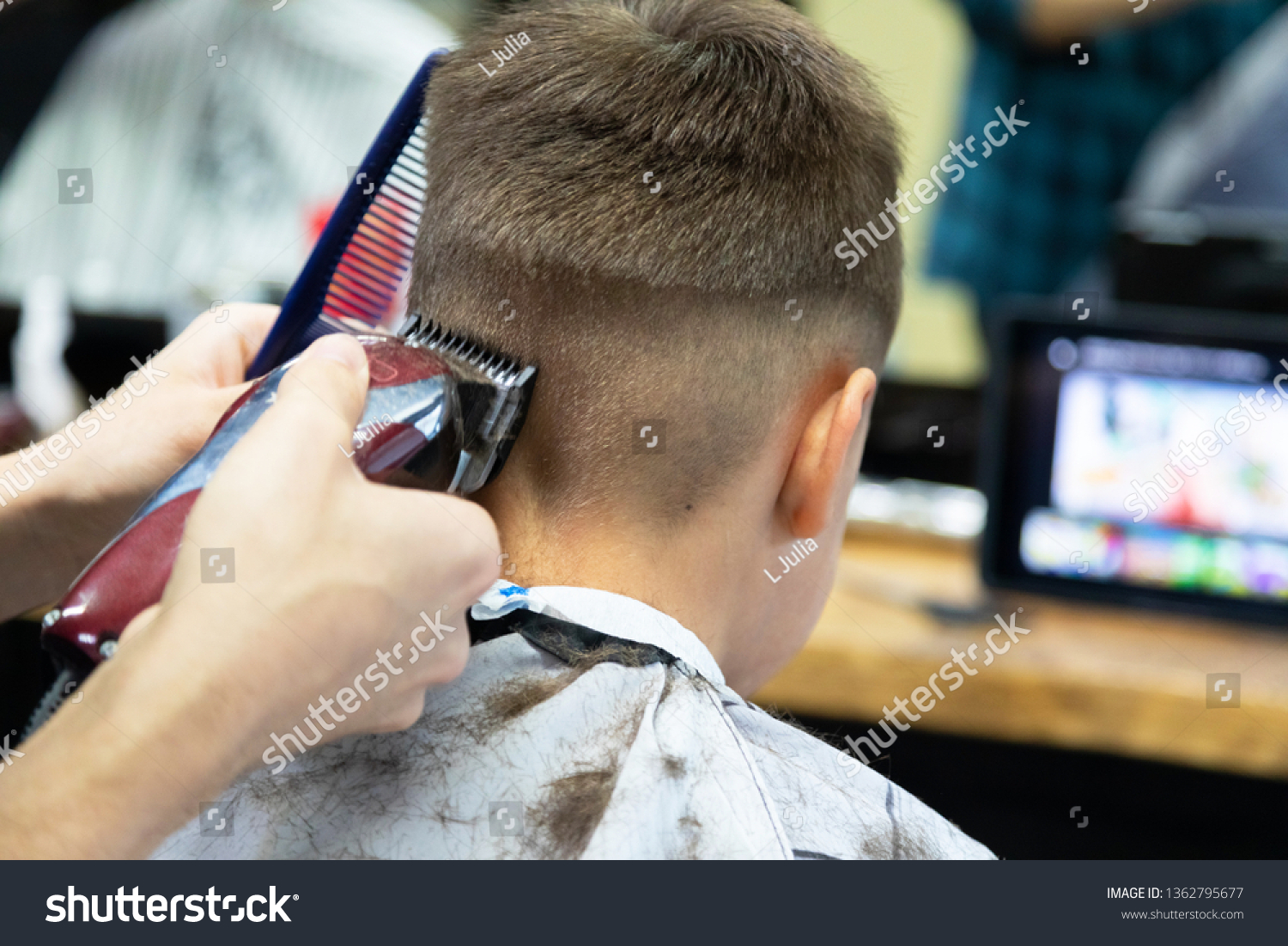 Amazing Little Boy Trimmed Hairdressers Stylish Hairstyle Stock Image Natural Hairstyles Runnerswayorg