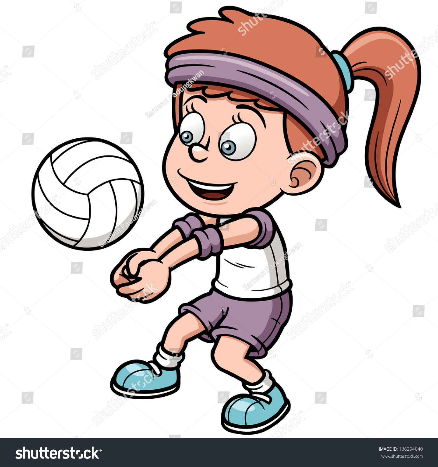 Vector Illustration Young Volleyball Player Stock Vector