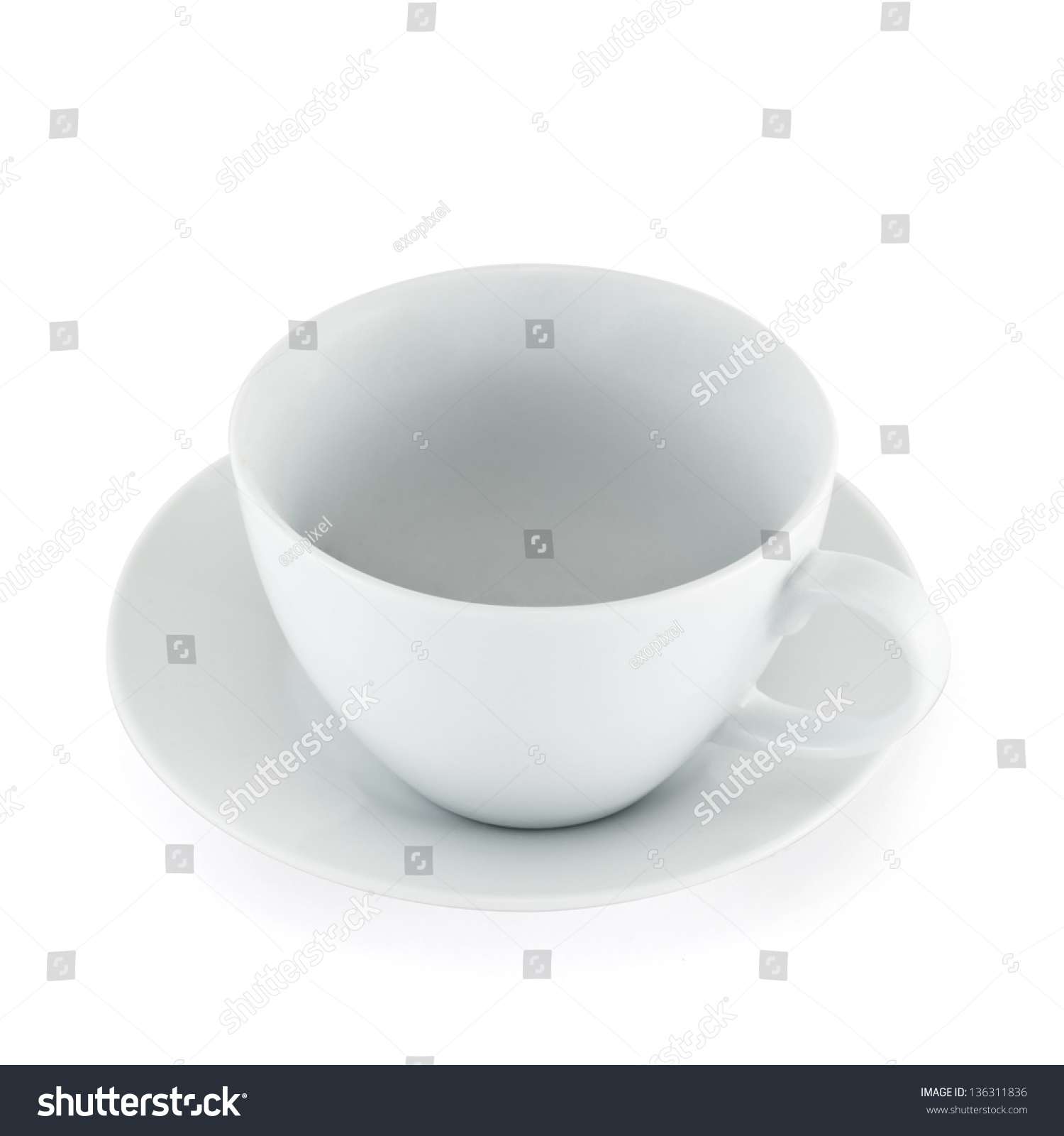 Empty Cup Top : Empty ceramic tea cup over white plate top view isolated
