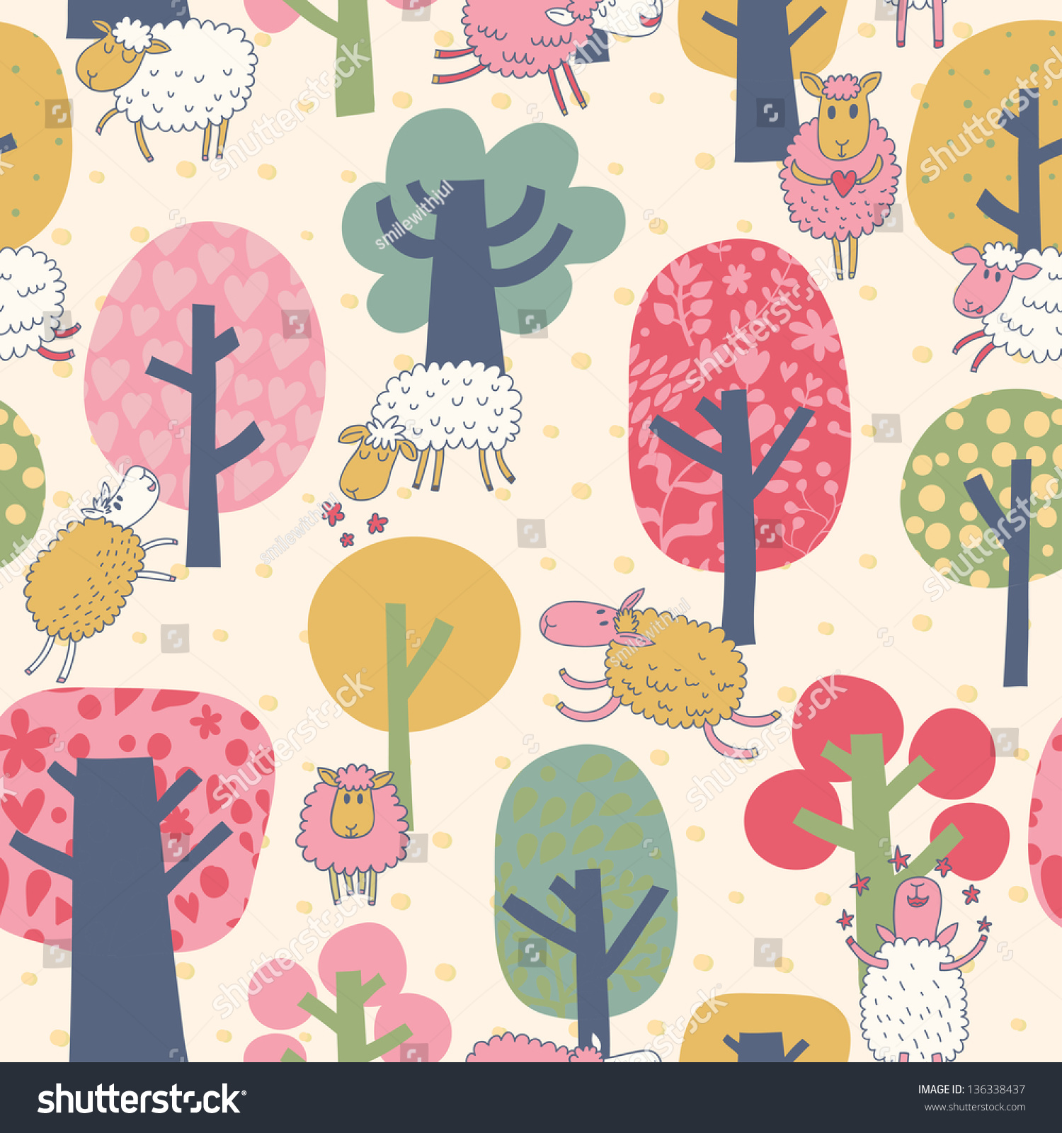 Bright Background With Sheep And Trees Cartoon Summer WallpaperSeamless Pattern Can Be Used