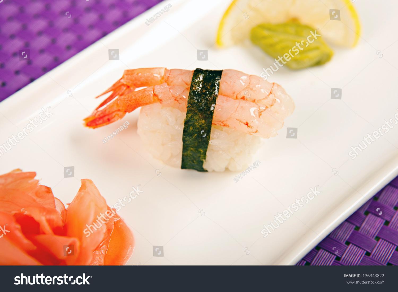 Raw Shrimp Sushi Stock Photo Edit Now 136343822 Shutterstock