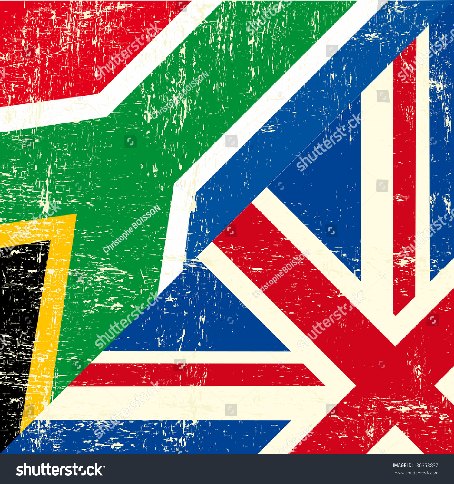 english south african grunge flag this stock vector