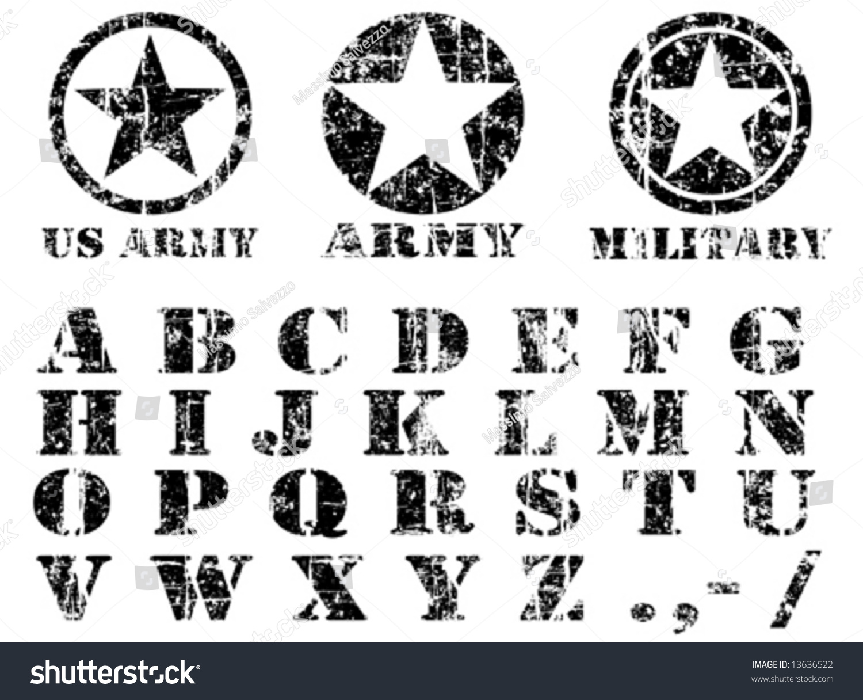 Vector military vintage font 13636522