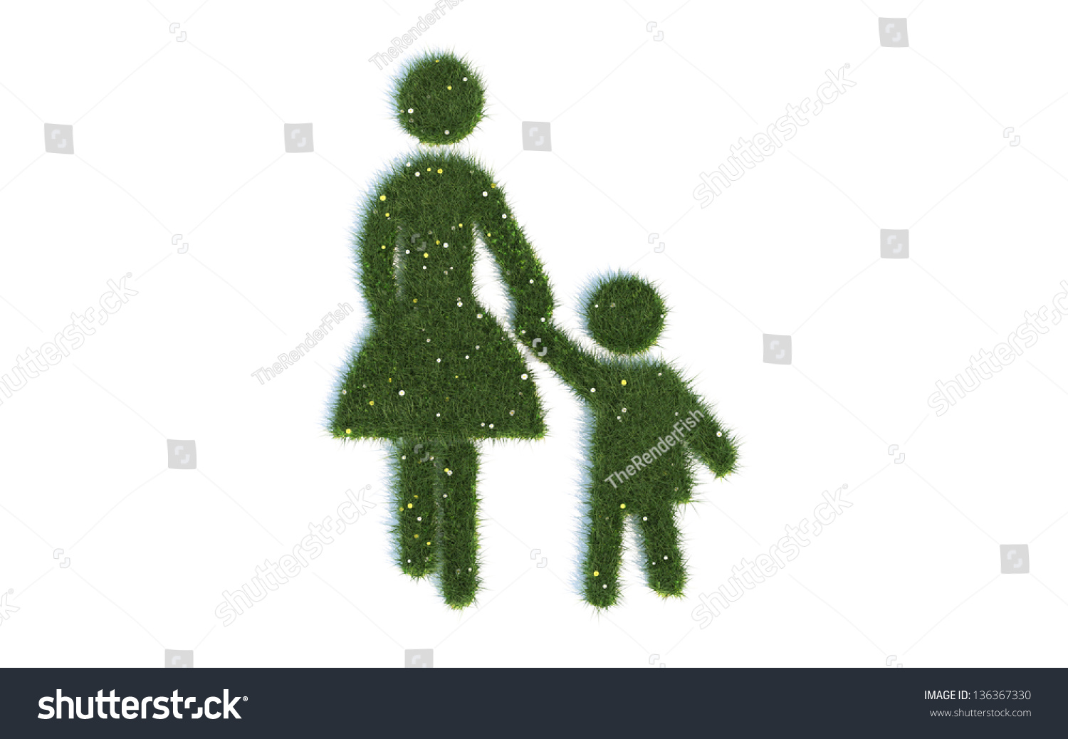Mother Child Series Symbols Out Realistic Stock Illustration
