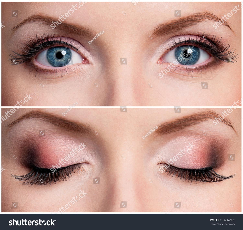 Close Beautiful Woman Blue Eyes Stock Photo 136367939
