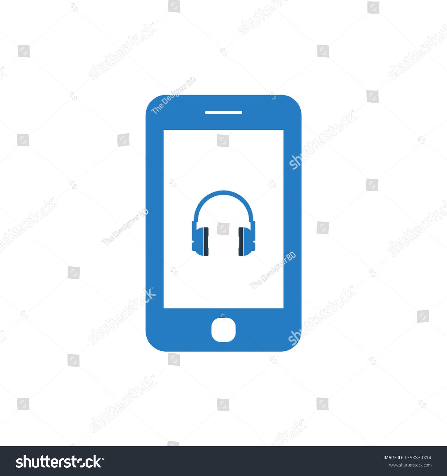 Smartphone Show Headphone Icon Vector Stock Vector (Royalty