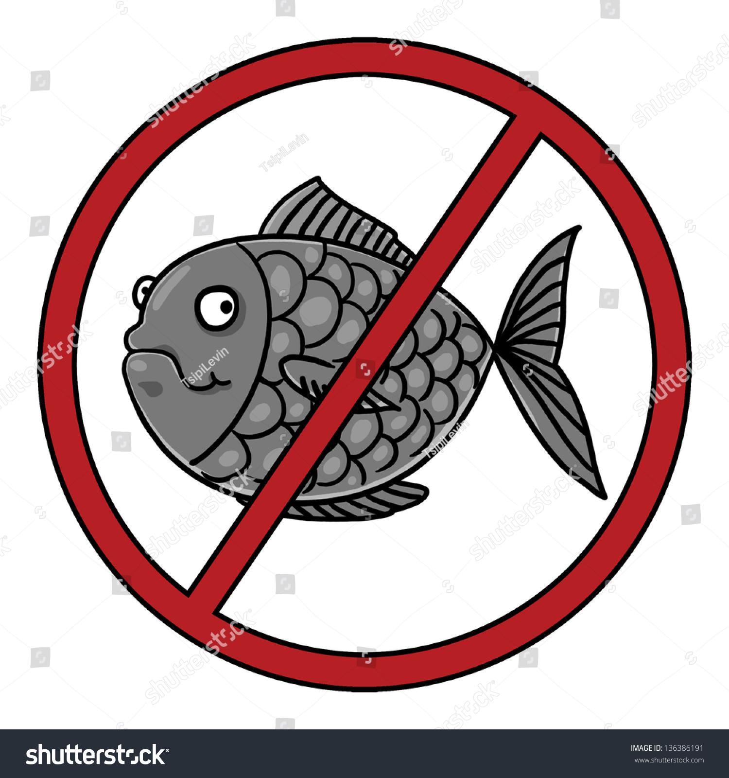Fish Free Symbol No Fish Icon Stock Illustration 136386191 ...