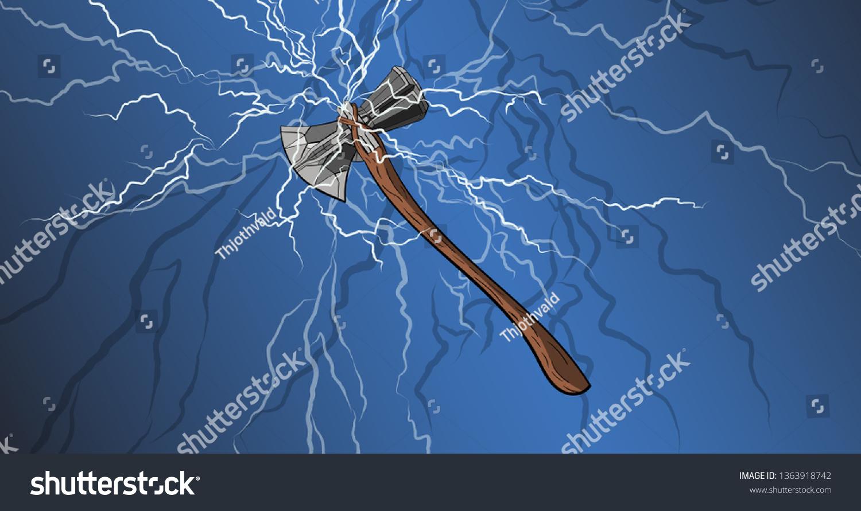 Gods Weapon Thor Axe Vikings Mythology Stock Vector Royalty Free