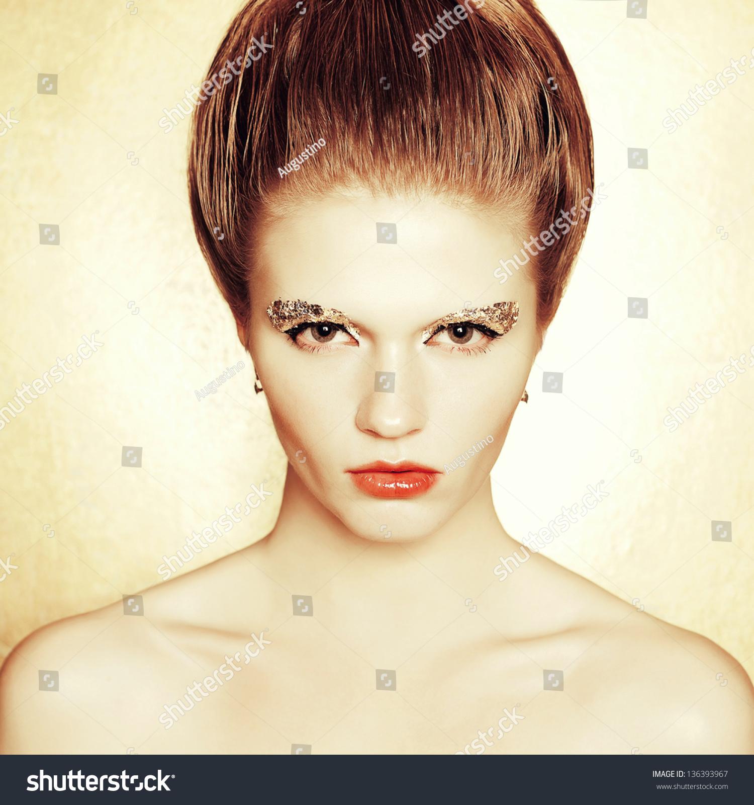 Portrait Fashionable Model Retro Hairdo Arty Stock Photo Edit Now