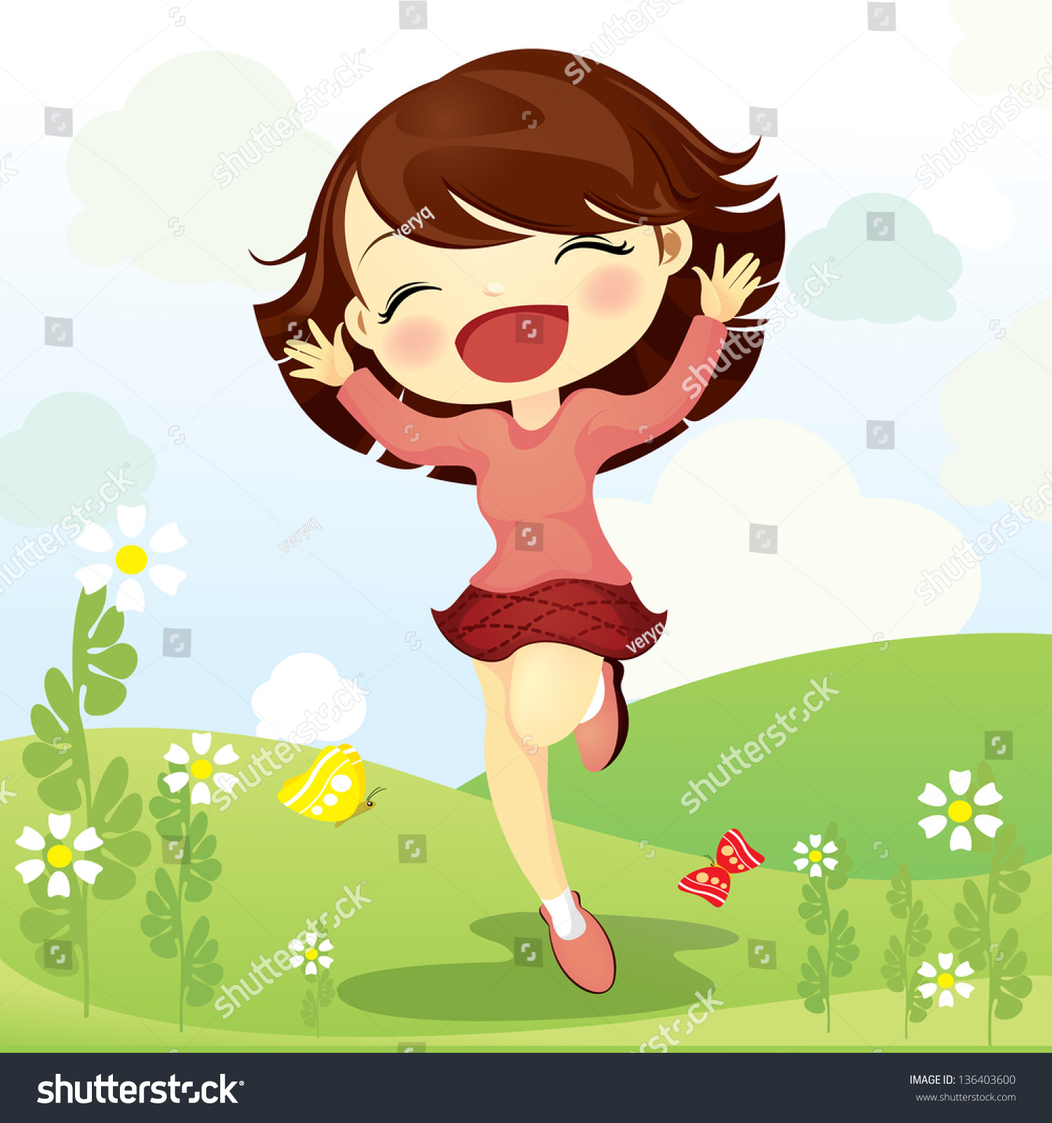Happy Girl Jumping In The Field Stock Vector Illustration ...