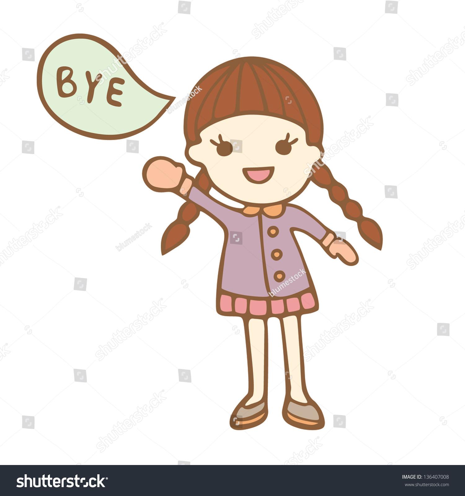 Stock Vector Cartoon Cute Girl Bye Vector Illustration