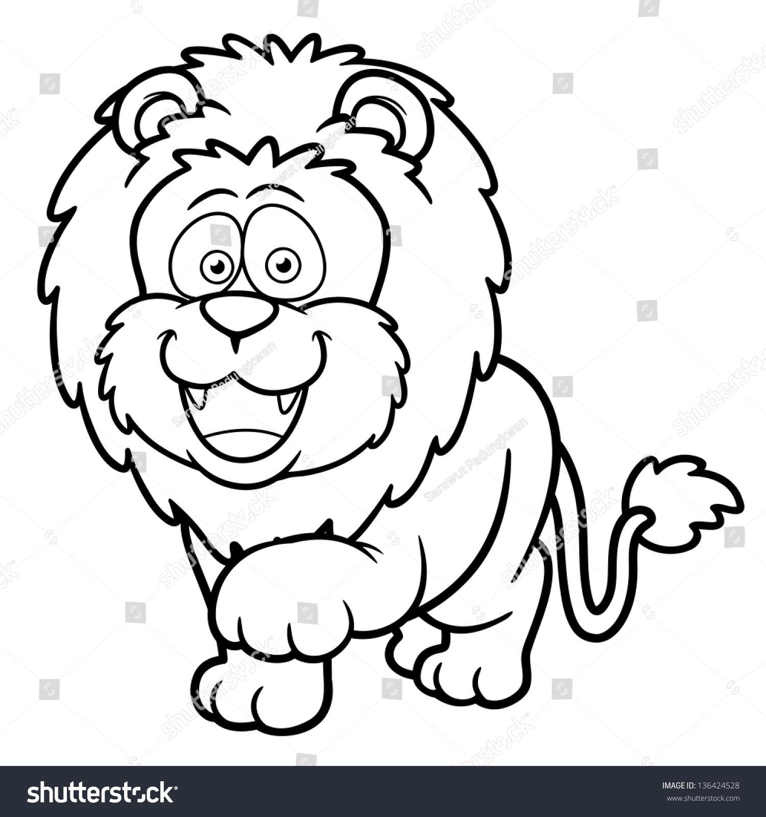 Vector Illustration Cartoon Lion Coloring Book Stock Vector