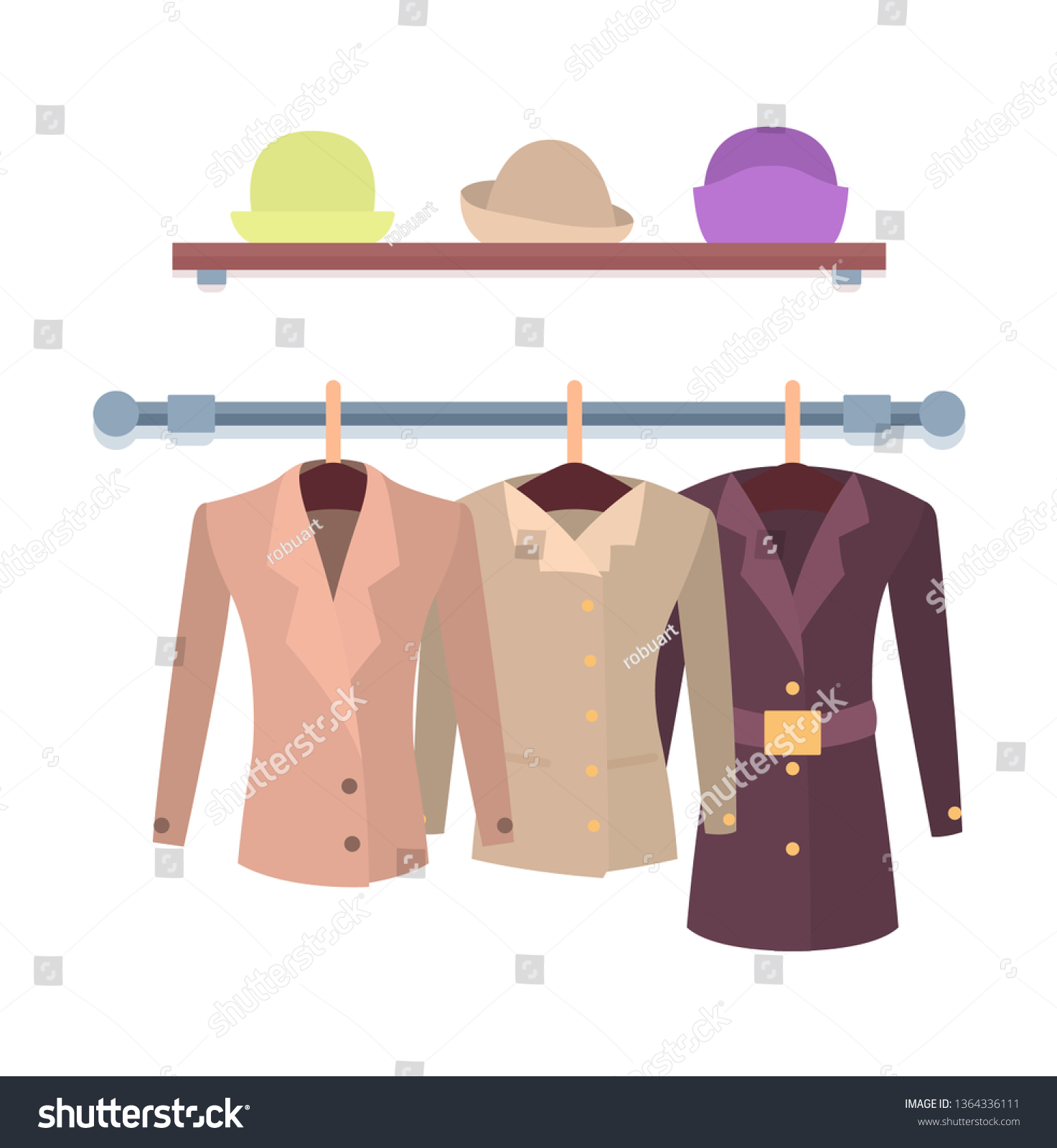 a7bd0d3f Set of women jackets outer garment and shelf with hats shop window design  coats hanging on
