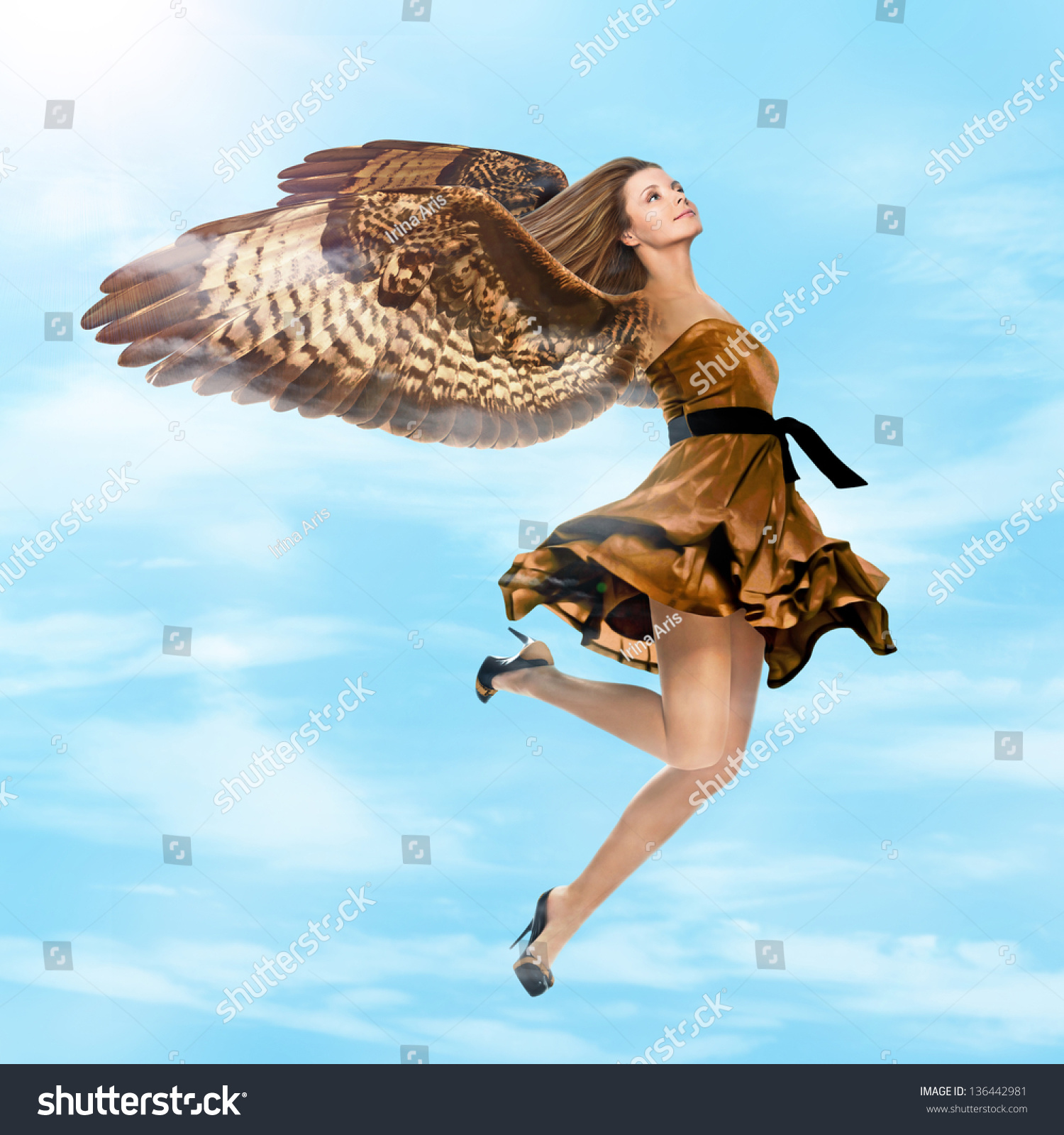 Fantasy Girl With Falcon Wings Flying In The Sky Stock ...