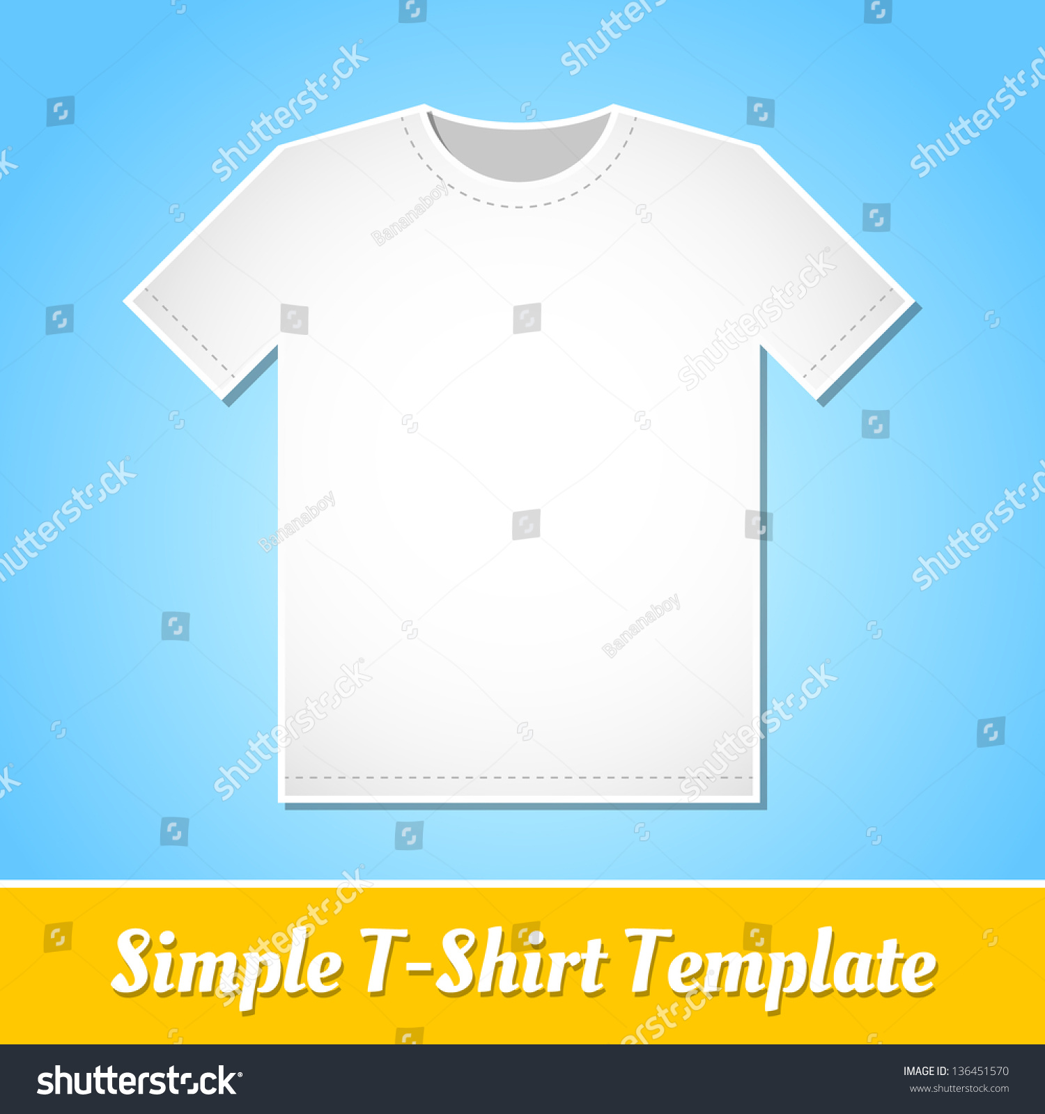 Simple White Tshirt Template Isolated On Stock Vector