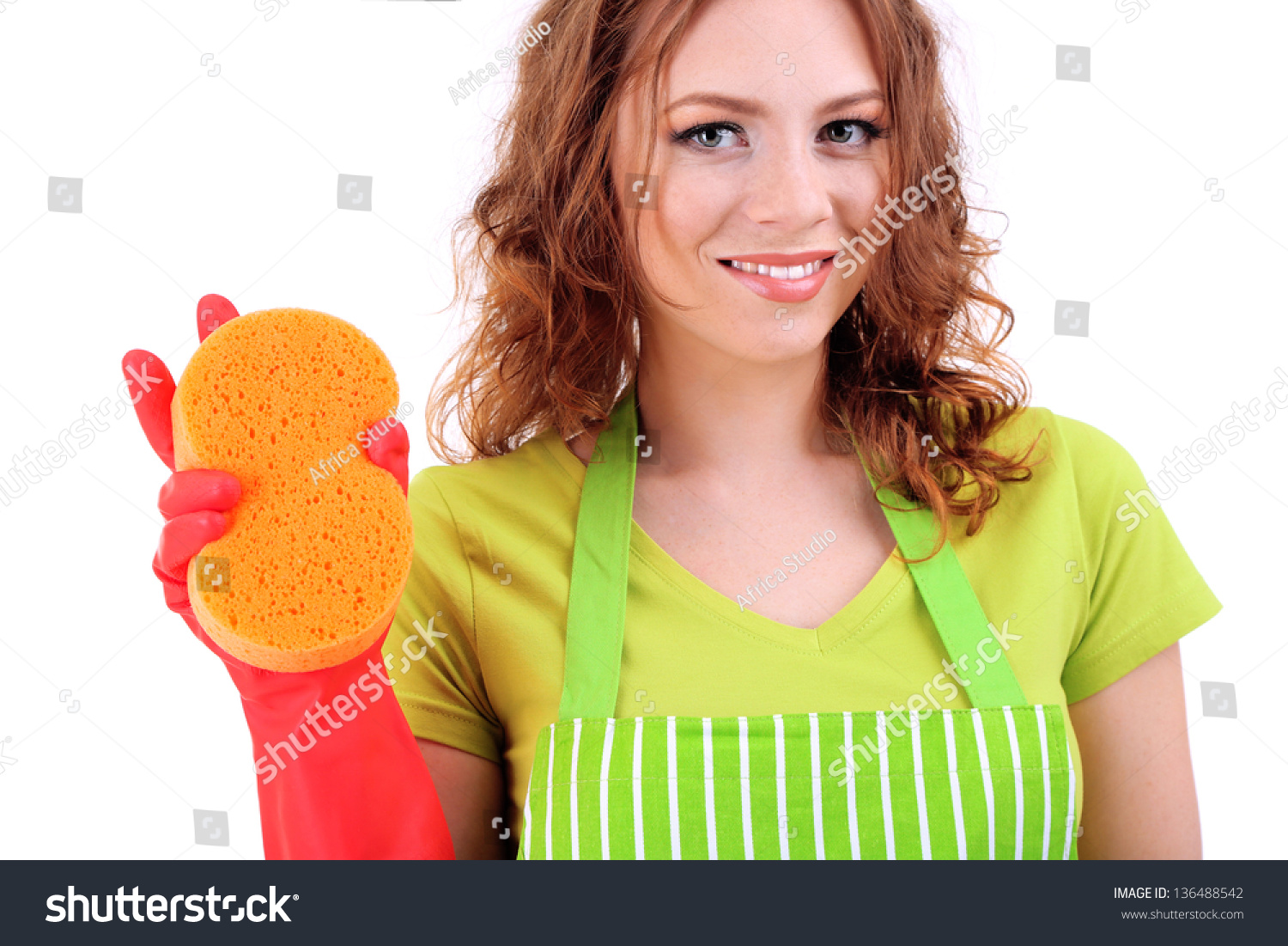 White rubber apron - Young Woman Wearing Green Apron And Rubber Gloves With Sponge Isolated On White