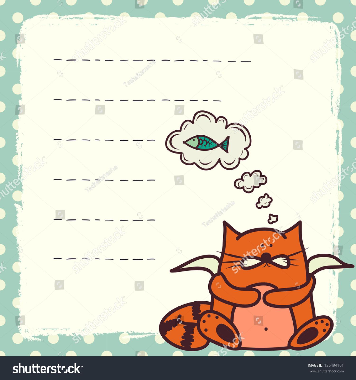 Card Note Template Cute Doodle Cartoon Vector 136494101 – Note Template