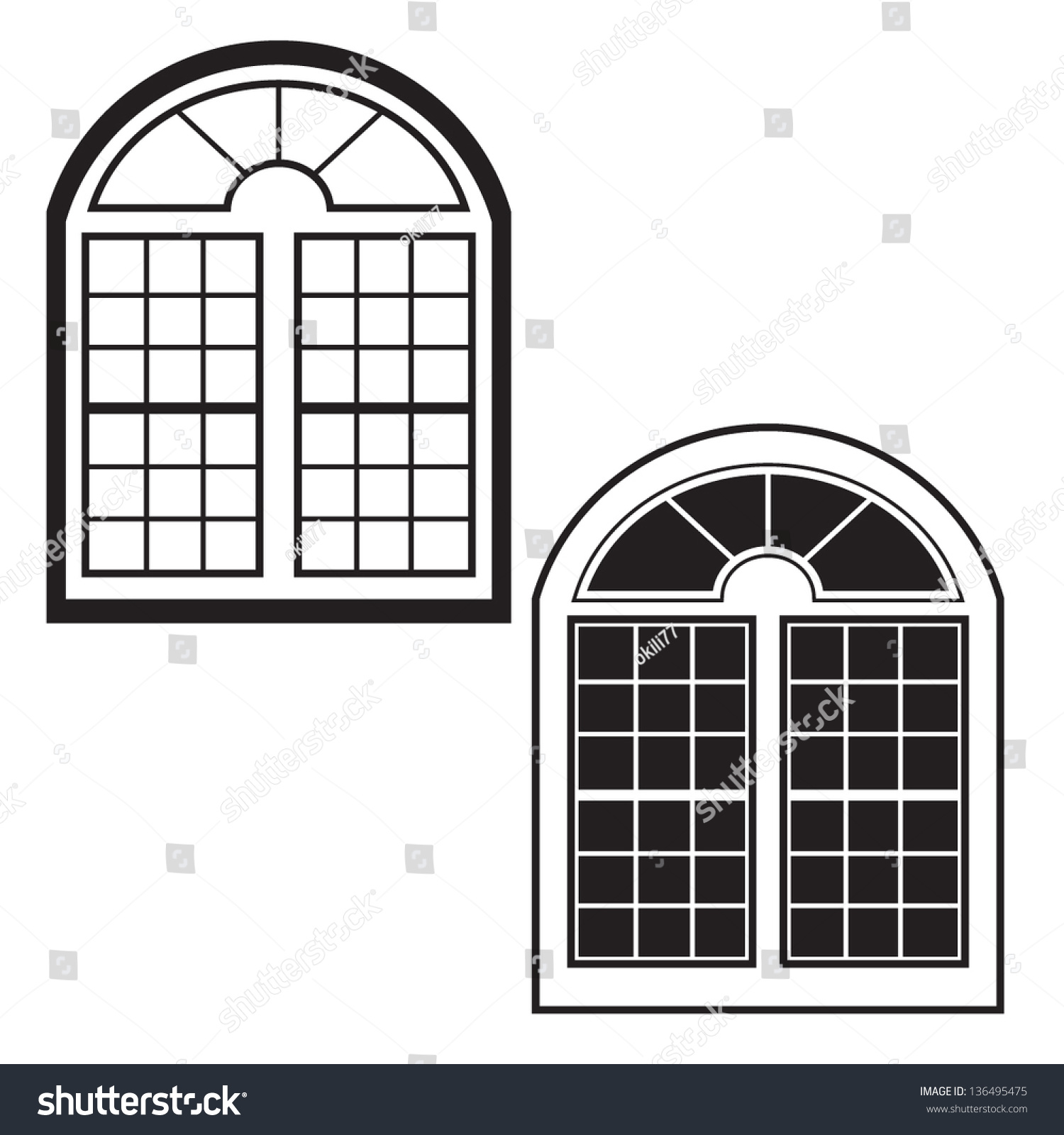 Window Silhouette Outline Vector Stock Vector 136495475