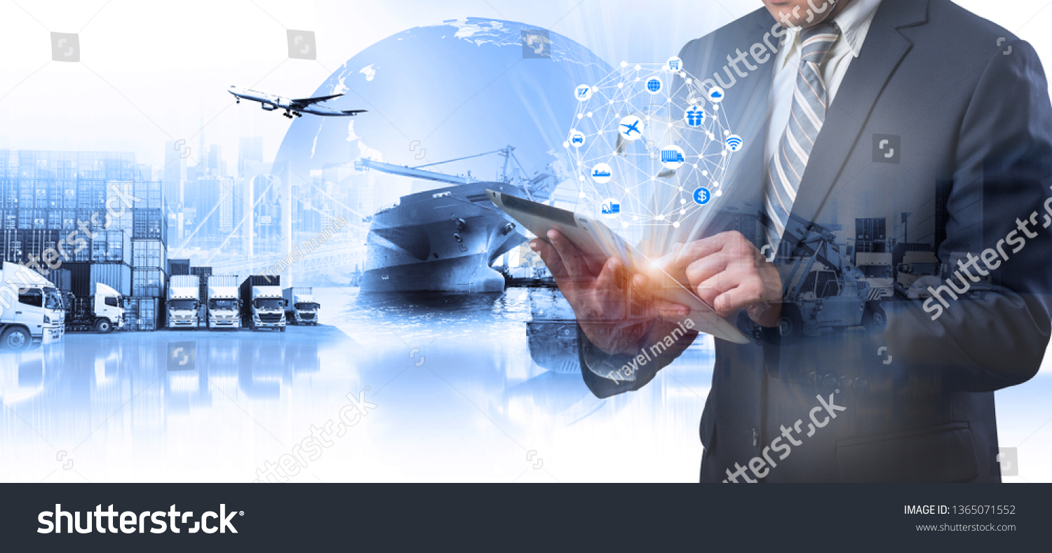 Multiple exposures of Businessman touching tablet for analyze stock at logistics port and world map with Delivery network distribution on background, transportation trading business concept,  #1365071552
