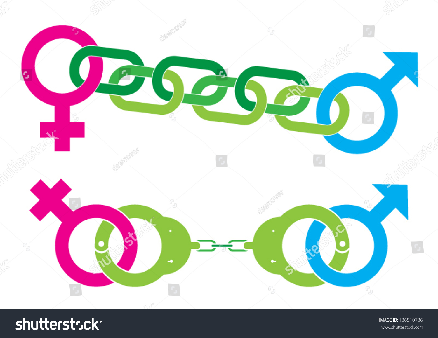 Female Male Symbol Caught By Handcuff Stock Vector Royalty Free
