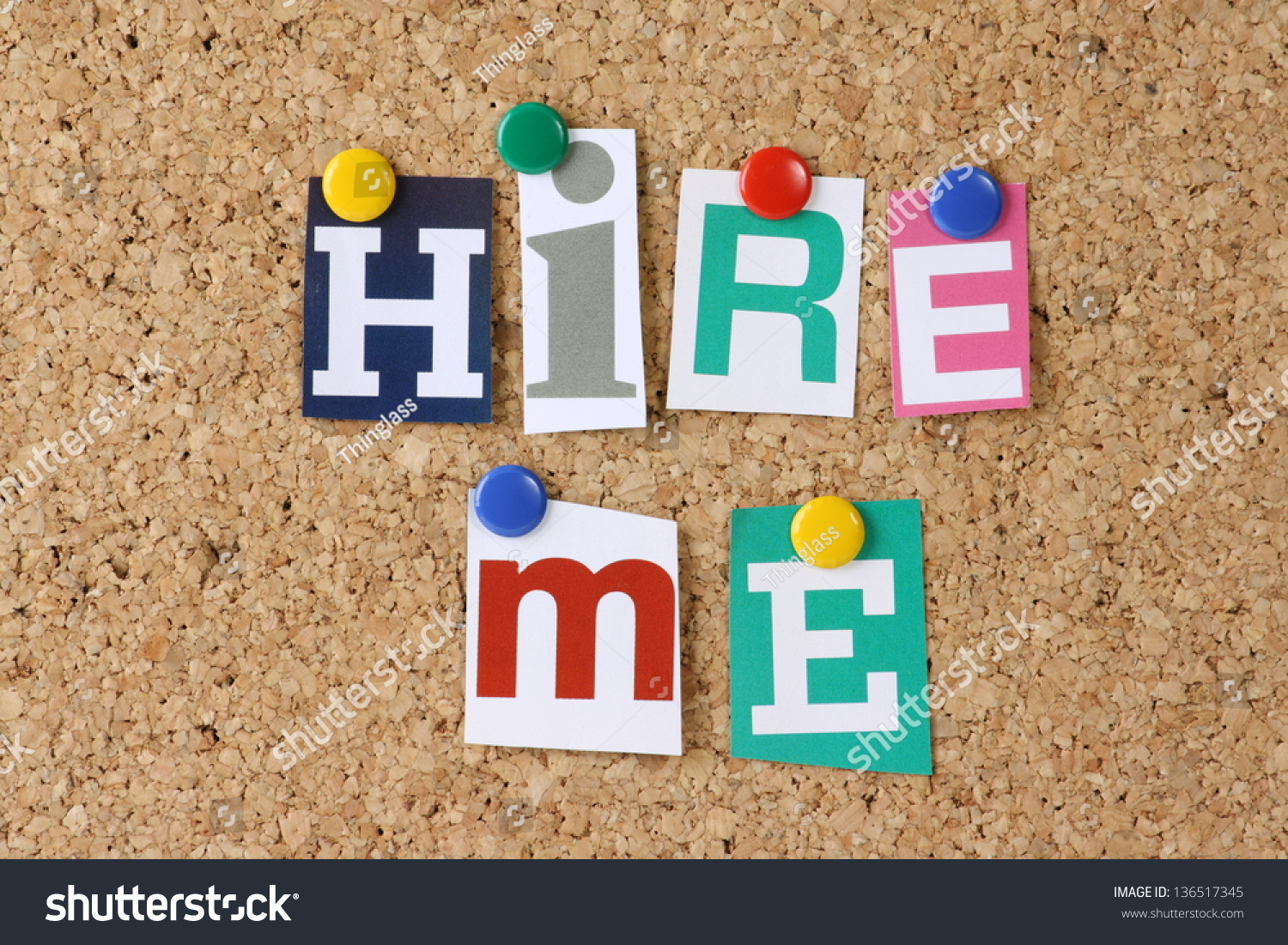 Words Hire Me Cut Out Magazine Stock Shutterstock