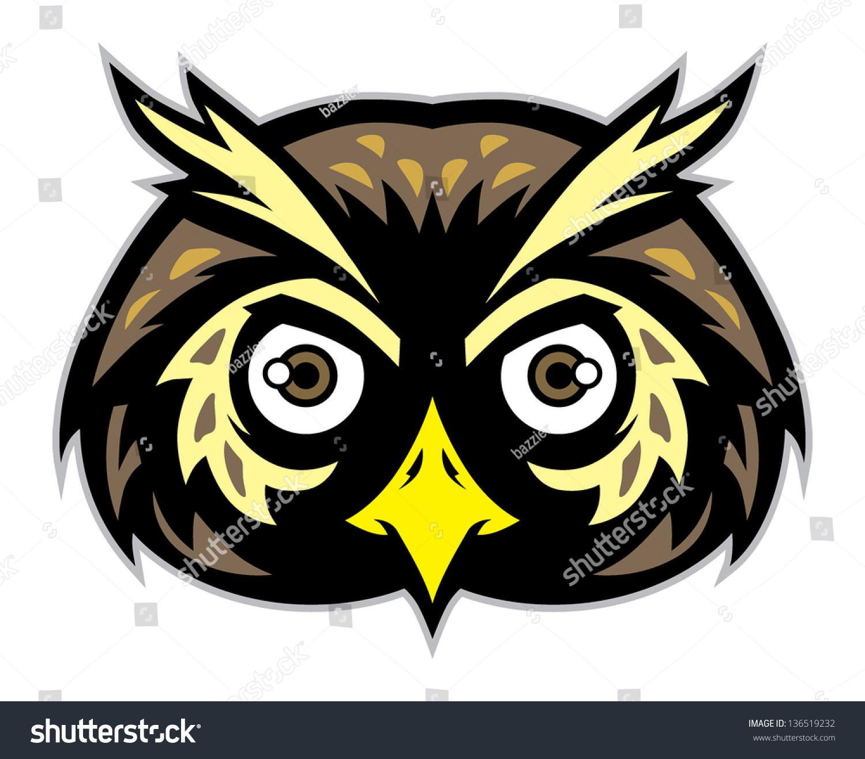 Owl Head Silhouette Vector Owl Head Mascot Stock ...