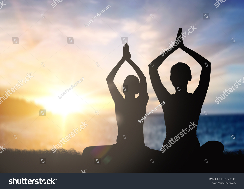 Mindfulness Spirituality Outdoor Yoga Silhouettes Couple Stock Photo Edit Now 1365223844