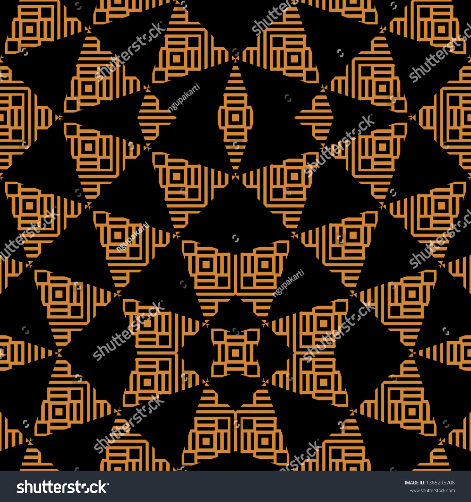 stock vector black orange art deco ornament ready for print and wallpaper 1365296708